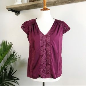 ANTHROPOLOGIE Meadow Rue lace Sleeve berry blouse